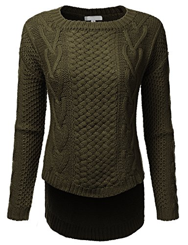 H2H Womens Winter Long Sleeve Round Neck High-Low Cable Knit Sweater Top Olive US S/Asia S (AWOSWL0207)