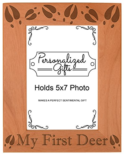 ThisWear Deer Hunting Gift My First Deer Photo Frame Hunter Gift Wood Engraved 5x7 Portrait Picture Frame (Turkey Picture Frame)