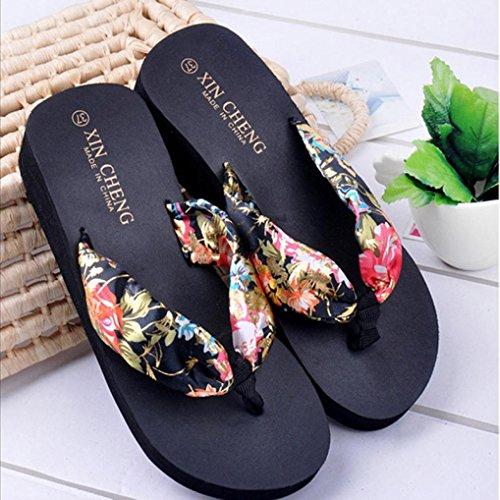 Cooljun Bohemia Floral Beach Sandalen Keil Plattform Thongs Hausschuhe Flip Flops Black
