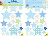 FunToSee Wish Upon A Star Boys Nursery and Bedroom Wall Decals, Stars