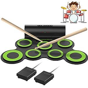 ORASANT Electronic Drum Set, Roll-able Electric Drum Set, Drum Practice Pad with Foot Pedals Drum Sticks Headphone Jack… Drum Sets
