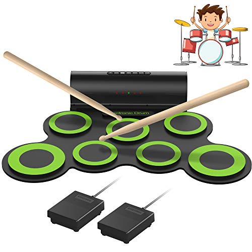 ORASANT Electronic Drum Set, Roll Up Electric Drum Set, Drum Practice Pad with Foot Pedals Drum Sticks Headphone Jack Built-in Speaker 10-Hour Playtime Rechargeable Battery, Birthday Christmas Gift
