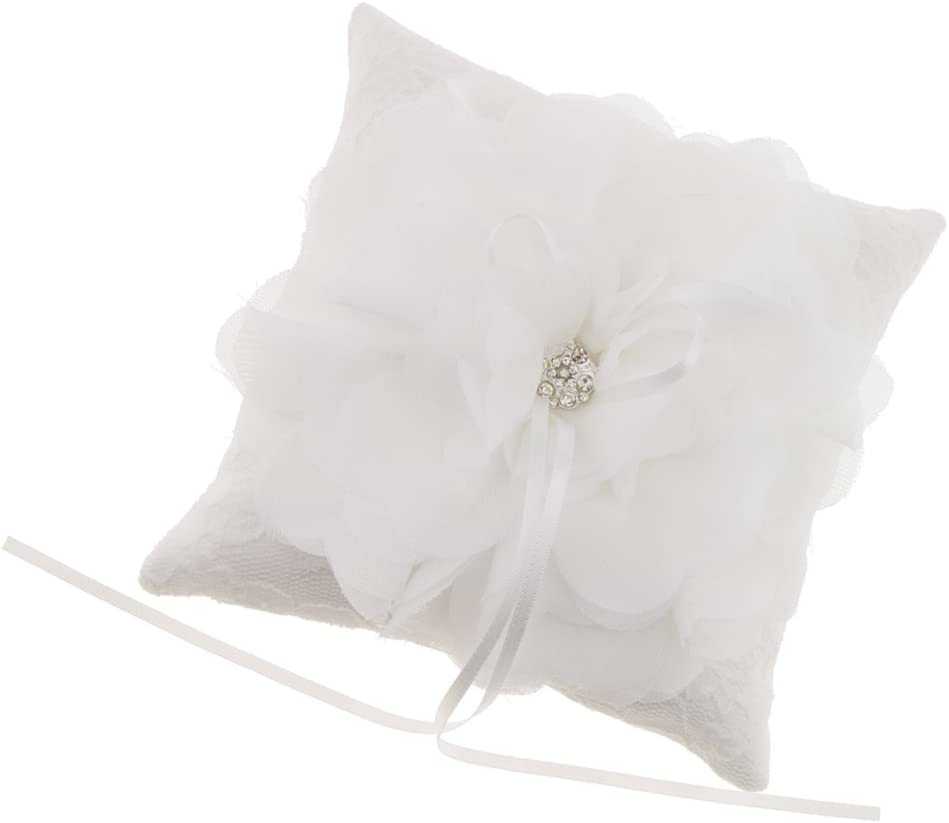 Anillo De Satén De Flor De Tul De Diamantes Blanco Tenedor Del Anillo De La Boda Proveedor Nupcial