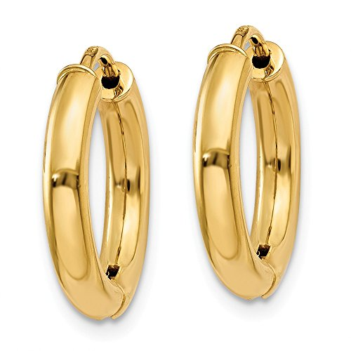 14K Yellow Gold Polished 15mm Hollow Hinged Hoop Earrings