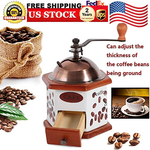 - Manual Grinders, Ceramics Mini Coffee Grinder Manual Coffee Bean Mill Classical Handmade Coffee Grinder Hand Crank Adjustable Thick and Thin Settings Precision Coffee Home Grinding Coffee Machine, USA STOCK