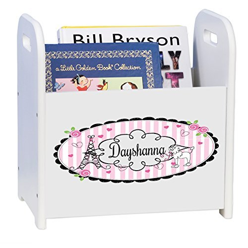 Personalized French Paris White Book Caddy and Rack by MyBambino (Image #1)