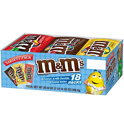 M&M'S Variety Pack Chocolate Candy Singles Size 30.58-Ounce 18-Count -