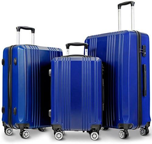 Goplus Luggage 3 Piece Set Expandable Lightweight Hardside Suitcase for Travel w/TSA Lock (Blue)