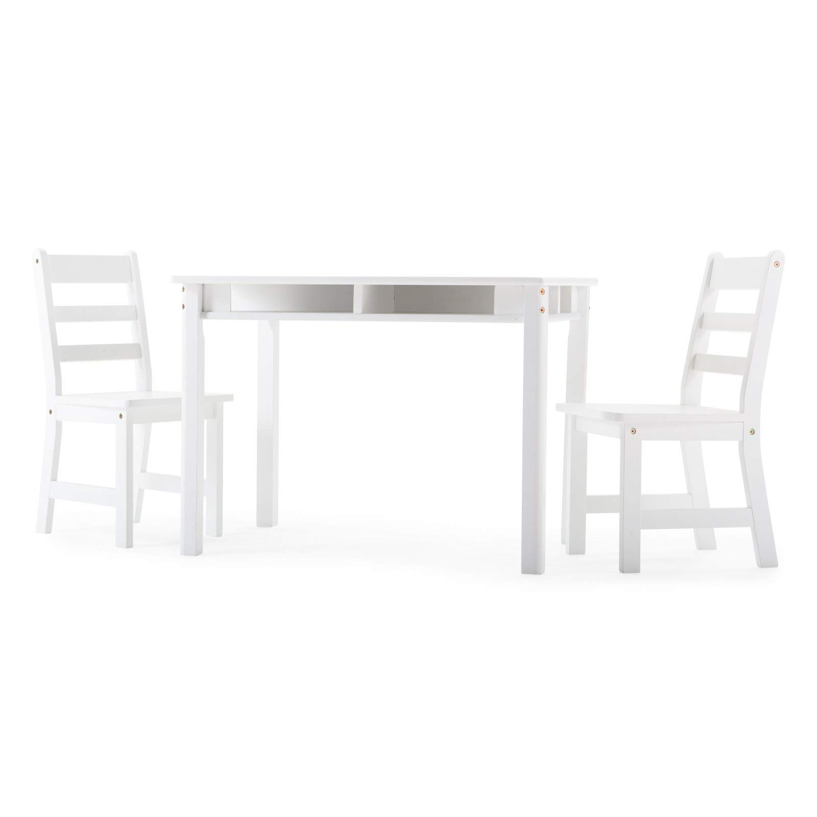 Childrens Rectangular Table and 2 Chairs Set with Shelves & Napkin (White) by Lipper International