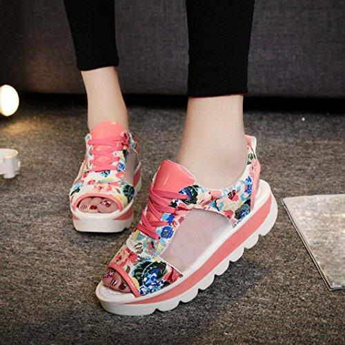 Moda Alto Zapatos Sandalias Mujer Impresión Dama 2018 Rosa Sandalias Gladiador Patrón y Moda Correas Pescado Verano Nuevo Plataforma WINWINTOM Boca Chanclas wnzPgxTq