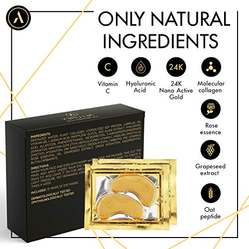 51GqPycThNL - ALLUREY 24K Gold Collagen Eye Mask, Best Eye Care, Anti-aging and Anti-wrinkle Effect, Moisturizes, Reduces Puffiness and Dark Circles, Under Eye Patches (15 Pairs)