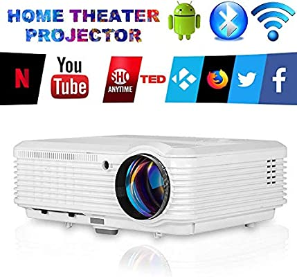 LED WiFi Proyector con Bluetooth, Soporte HD 1080P LCD Video Proyector Smart Airplay compatible con Smartphone, Computer, Laptop, PC, PS4, Roku Stick, TV Box, HDMI, USB, VGA para Juegos Cine en Casa: