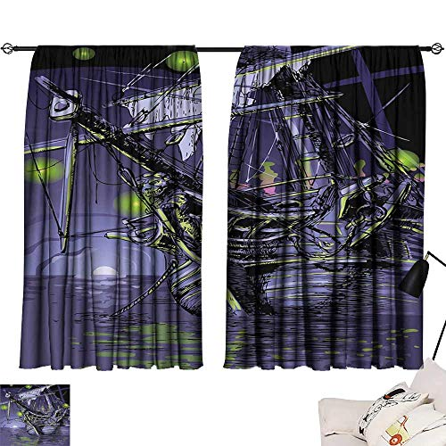 Abeocg Decorative Curtains for Living Room Pirate Ship Ghost Ship on Fantasy Caribbean Ocean Adventure Island Haunted Vessel Soft Texture W55 xL39 Purple Lime Green
