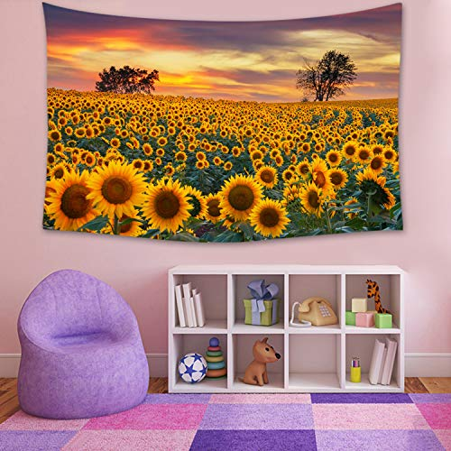 Sunflower at Sunset Tapestry Yellow Landscape Large Tapestries Wall Hanging, Picnic Blanket Wall Wart, Home Decorations for Living Room Bedroom Dorm 79 by 59 Inch
