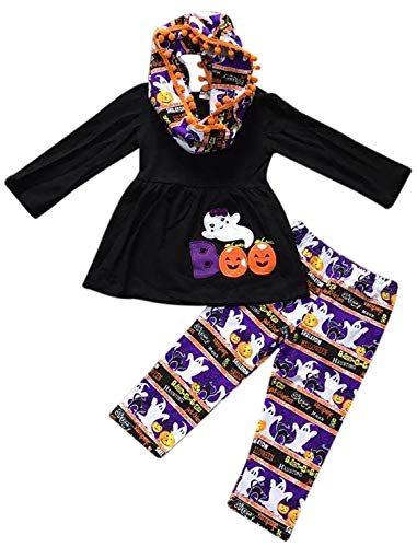 Little Girls 3 Pieces Set Boo Ghost Halloween Pumpkin Outfit Top Scarf Pant Set Black 3T S (P318337P) ()