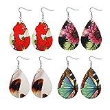 Besteel Teardrop Leather Earrings for Women Girls Fashion Statement Dangle Earrings R