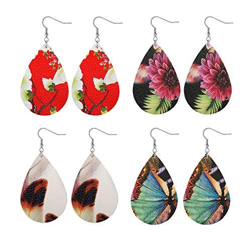 Besteel Teardrop Leather Earrings for Women Girls Fashion Statement Dangle Earrings