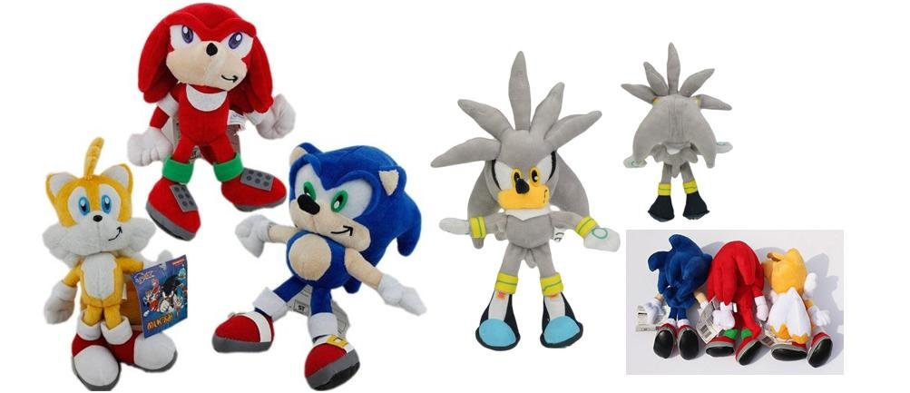 Sonic The Hedgehog 9'' Plush Set, Silver, Knuckles and Tails by Sonic