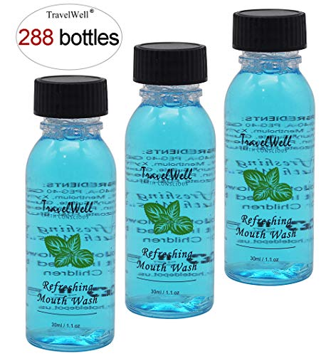 TRAVELWELL Individually Wrapped Hotel Toiletries Amenities Disposable Outlast Mouthwash Travel Size,Long Lasting Mint,1 Fl Ounce,288 Bottles per Case
