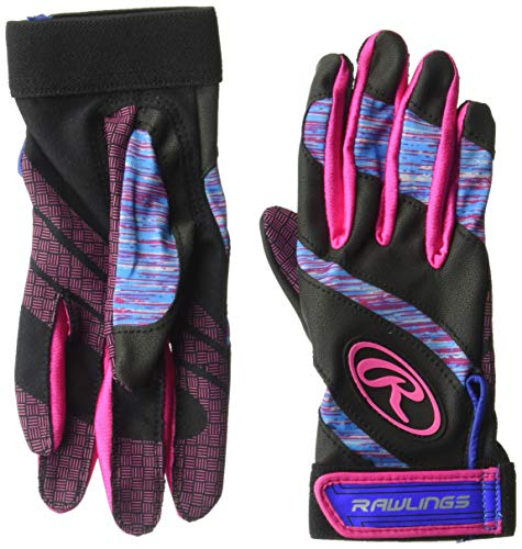 Rawlings FPEBG-PK-89 Rawings Eclipse Batting Gloves, Blue/Pink