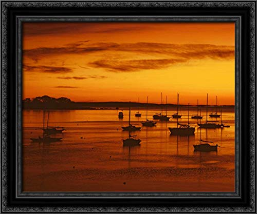 ME, Camden Sailboats Silhouetted at Sunrise 24x20 Black Ornate Wood Framed Canvas Art by Terrill, Steve
