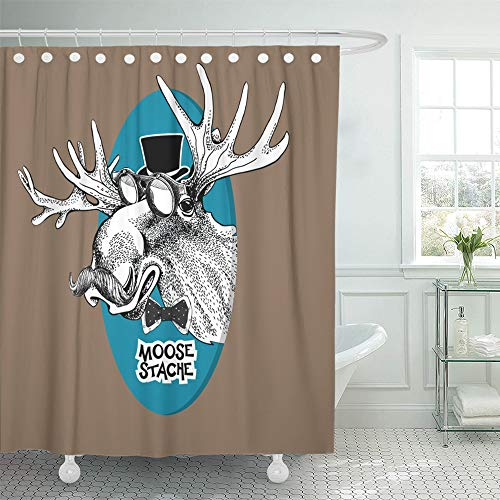 Emvency Shower Curtain Set Waterproof Adjustable Polyester Fabric Black and White Portrait of Moose Mustache Glasses in Blue Oval on Kraft 72 x 78 Inches Set with Hooks for Bathroom ()