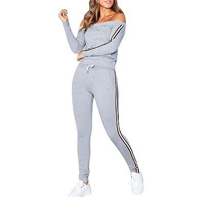 ZEZKT Sportswear Femme - Ensembles de Survêtements 2 Pièce Tops à Manches  Longues Épaule sans Bretelles 9438a70d06e