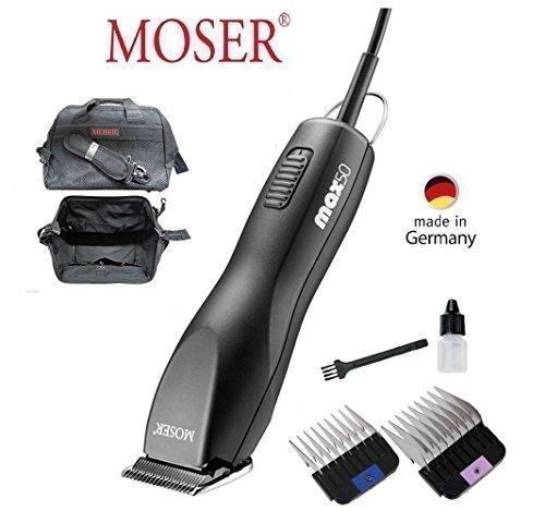 MOSER Profi MAX 50 + 2 Aufsteckkämme + Moser Tasche in schwarzer Farbe