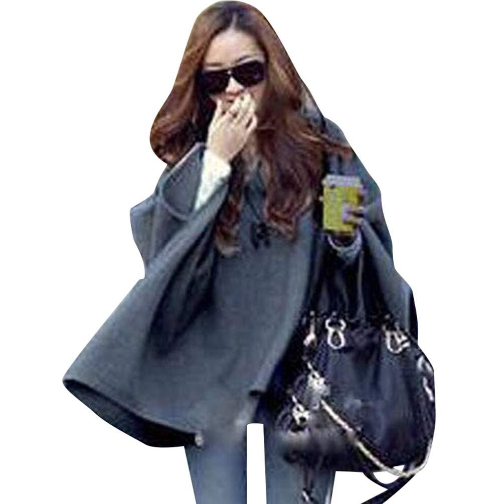 Baijiaye Donna Mantelle con Cappuccio Inverno Caldo Cappotto Mantella Autumn Pullover Mantello Poncho Outwear Elegante