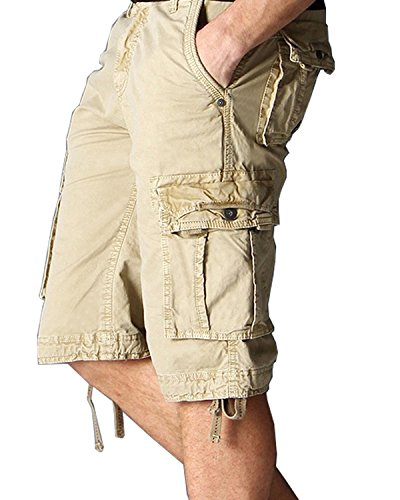 JoJoJoy Men's Casual Loose Fit Cargo Shorts, Straight Multi-Pocket Cotton Outdoor Wear