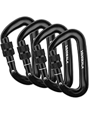 12KN Aluminium Wiregate Carabiners - 4 Pack - Rated 2645 LBS Each – 7075 - VANWALK Lightweight Carabiner Clips for Hammock Climbing Rocking
