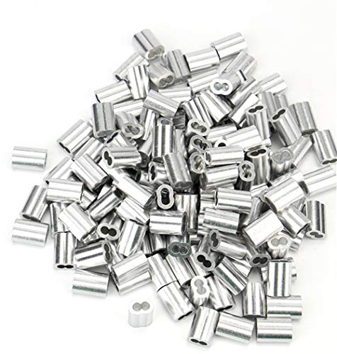 (Tebery 150 Pcs Aluminum Crimping Loop Sleeve for 1/8