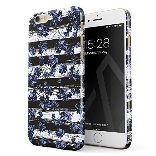 - BURGA Phone Case Compatible with, iPhone 6 Plus / 6s Plus Wild Cherries Blue Blossom Floral Pattern Chevron Fashion Designer Thin Design Durable Hard Plastic Protective Case