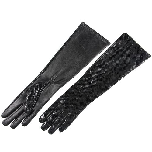 (SALE Women's Long Elbow Length Dress Evening Party Nappa Leather Gloves for Bridal Wedding Driving (Large (Size runs small), Black (Style G)))