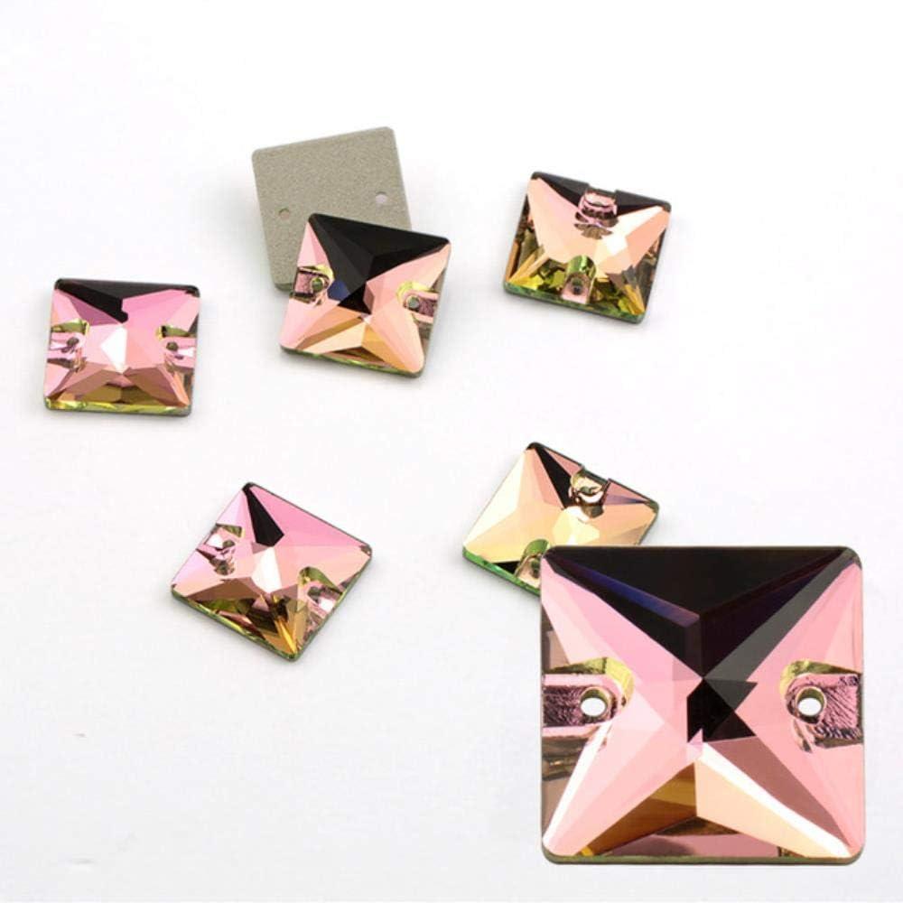 PENVEAT AAAAA Coser en Piedra Diamantes de imitación de Cristal de Color Coser en Accesorios DIY Fabricación de Vestidos, Rosa, 22x22 mm - 8 Piezas