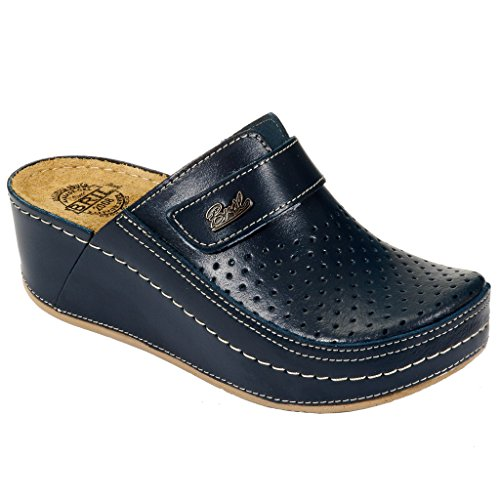 Donna BRIL Sabot Scarpe Rosso Pantofole Dr Punto D130 Pelle Blu Zoccoli Cw1zRqz