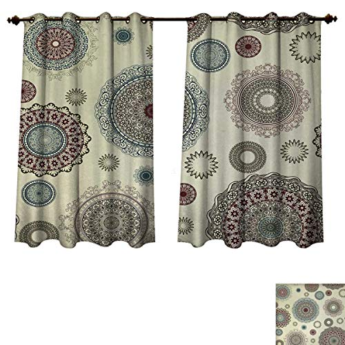 Anzhouqux Beige Blackout Thermal Curtain Panel Vintage Ornate Round Motifs Forms Oriental Nostalgic Artwork Old World in Retro Style Patterned Drape for Glass Door Multicolor W72 x L72 inch (Furniture Orlando Old World)