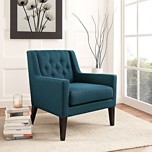 Modway Earnest Button Tufted Mid-Century Modern Accent Arm Lounge Chair in Azure by Modway