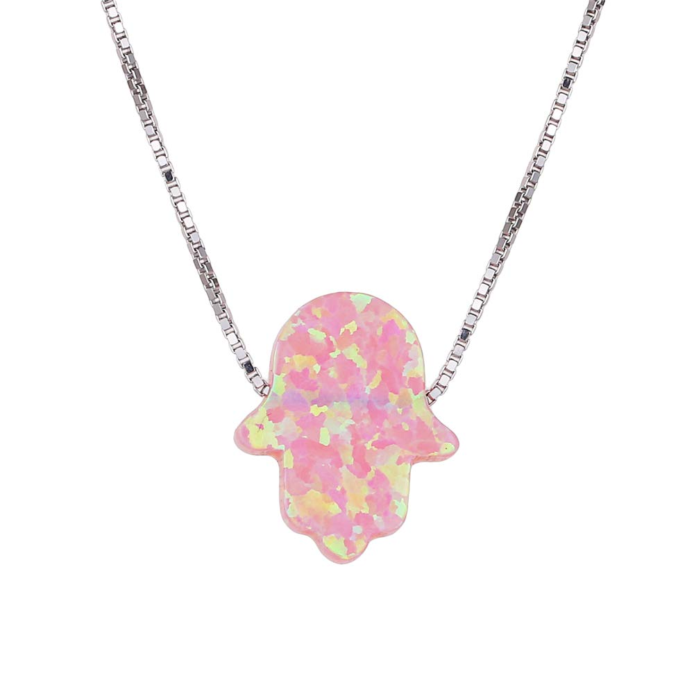 925 Sterling Silver Box Chain Fashion Design Hamsa Hand Opal Jewelry Pendant Necklace for Women Girl
