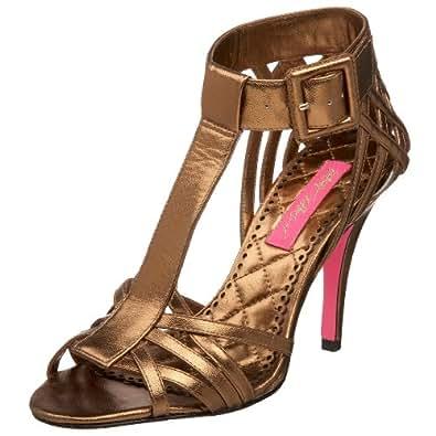 Betsey Johnson Women's Caleb Sandal,Bronze Leather,5.5 M US