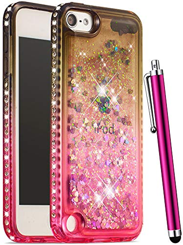 CAIYUNL Glitter Bling Liquid Sparkle Rhinestone Luxury Case Women Girls Kids Cute TPU Silicone Protective for iPod Touch 6 iPod Touch 5 Cover for iPod Touch 6th Generation/iPod Touch 5th Gen-Grey Pink ()