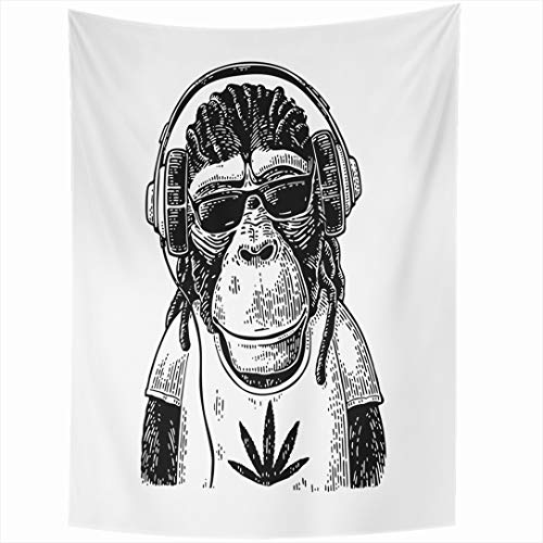 Ahawoso Tapestry 60x90 Inch Paw Ape Monkey Headphones Sunglasses Dressed Animals Hat Front Wildlife Vintage Draw Dreadlocks Face Black Leaf Tapestries Wall Hanging Home Decor Living Room Bedroom ()