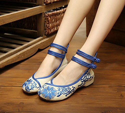 Jane Chinois Lazutom Qipao Femmes Mary Habillées Chaussures Bleu Style Brodées Vintage Chaussures fqczWqvt
