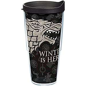 Tervis 1243479 HBO Game of Thrones - House Stark Insulated Travel Tumbler with Wrap & Lid, 24 oz - Tritan, Clear