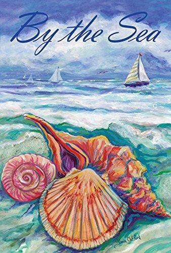 Toland Home Garden By The Sea 28 x 40 Inch Decorative Ocean Wave Beach Seashell Sail Boat House Flag