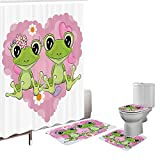 Amagical 16 Pieces Shower Curtain Set Bath Mat Set Contour Mat Toilet Cover Cute Frog Animal Lovers Shower Curtain with 12 hooks