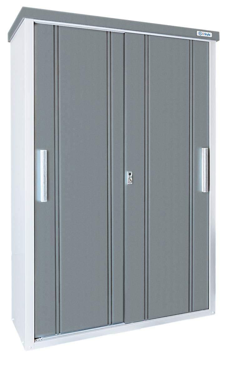 サンキン物置(E-Style クール1350) 間口1300mm×奥行500mm×高さ1937mm 棚板2枚付 扉色グレーメタリック 送料無料 格安 収納庫 倉庫 DIY B07H56KDNP