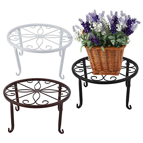 """Cheap Corasays 3 In 1 Metal Plant Stand Flower Pot Holder, 9.5"""" Scroll Pattern Potted Floor Flower Pot, Pack of 3 Colors, Black/White/Brown for sale"""