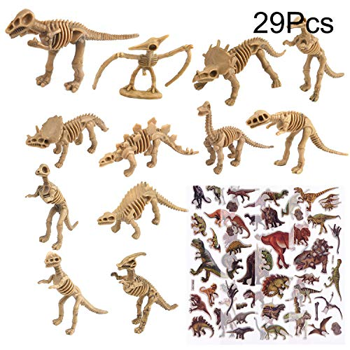 TUPARKA 24Pcs Dinosaur Fossil Skeleton with 5 Sheet Dinosaur Stickers,Assorted Toy Figures Dinosaur Party Favors for Kids