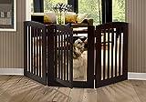 BarkWood Pets Freestanding Pet Gate with Walk-Thru Door and Three 24″W x 36″H Folding Wood Panels, Cappuccino
